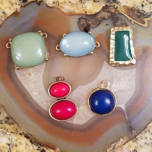 5 Bundle of colorful slide pendants GUC
